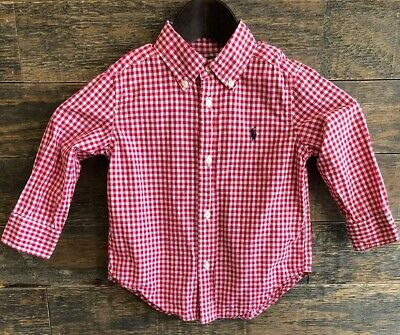 POLO Ralph Lauren Toddler Boys Gingham Dress Shirt Top ~ 2T  *EUC*