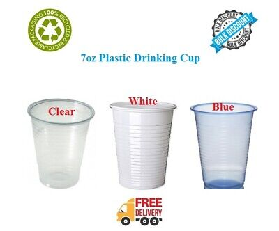 Disposable Plastic Cups Glasses Party Birthday 7oz Clear White Blue Drinking Cup