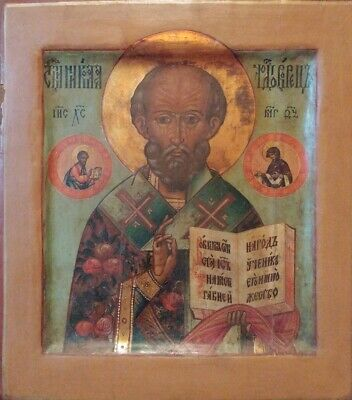 Antique 19C Double Sided Hand Painted Russian  Icon Of St.nicholas & Dimitry