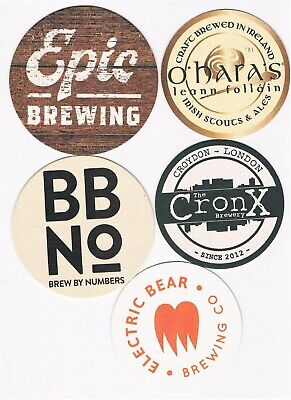 5 x Different Brewery Beer Mats Coasters #34
