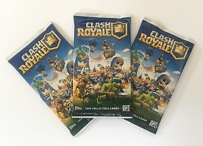 3 Unopened Clash Royale Topps 2018 Trading Card Packs- Official Supercell NEW