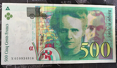 "1994 500 franc French note / ""MARIE CURIE"""