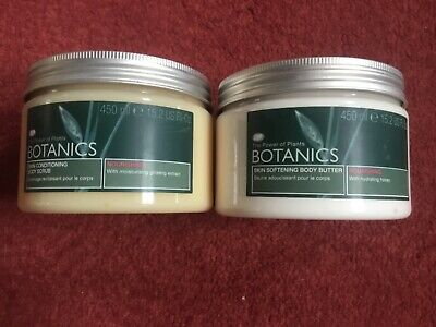 BOTANICS BODY SCRUB AND BODY BUTTER, LARGE 450ml POTS, NEW AND UNUSED