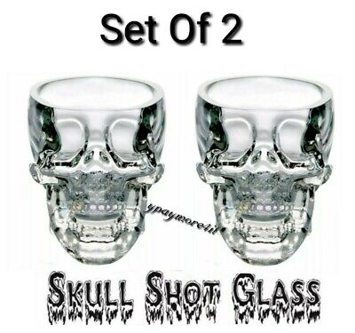 NEW 2 Crystal Skull Head Vodka Whiskey Shot Glass Party Drinking Cup Halloween