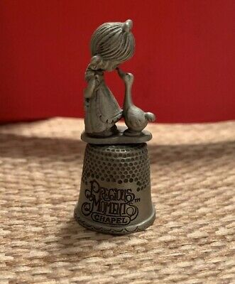 Precious Moments Thimble Samuel Butcher Chapel, Girl With Goose, Pewter