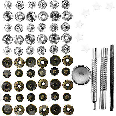 30 Set Metal No Sewing Press Studs Buttons Snap Fastener 12mm with Fittings