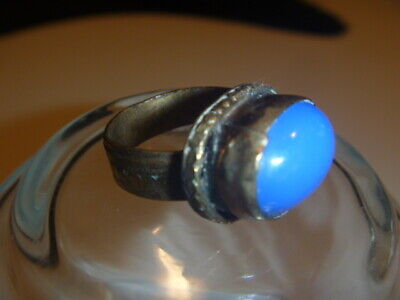 Beautiful Rare Medieval Renaissance Blue Stone Ornate Brass Ring 7