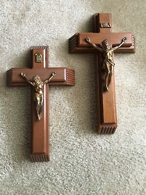 LOT OF 2-Catholic Last Rites Wall Crucifix Sliding Hidden Compartment Wood Metal