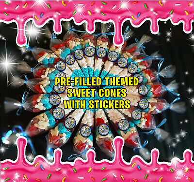 Pre-Filled Personalised Party Sweet Cones Themed Large Party Bags Girls & Boys