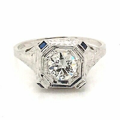 20 K White Gold Antique Art Deco Diamond Engagement Ring  .60ct Gia Certificate