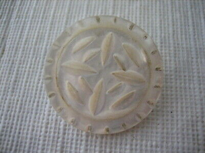 """Vintage Medium 1-1/16"""" Carved Mother Of Pearl MOP Shell Brass Shank Button PD109"""
