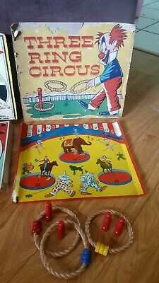 Antique Toy Game Lot Nock-em-off, Three Ring Circus and Arrowlette LQQK