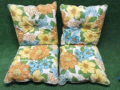 Vintage Mid Century Patio Chair Pads Cushions Heavy Padded Set Of 2 Floral Nice