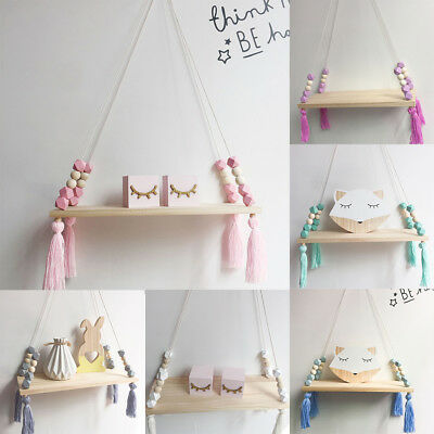 LN_ AM_ Nordic Wall Wooden Hanging Board Holder Ornament Beads Tassel Home Dec