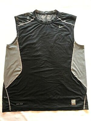 Nike Pro Combat DRI-FIT Compression Sleeveless Sportswear Shirt Black Mens L