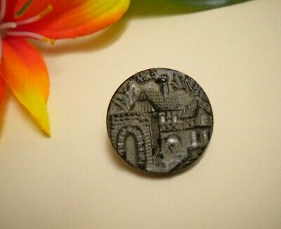 Antique Black Glass  Medieval Stone House Picture Button