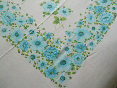 Vtg Cotton or Linen Large White Tablecloth w/Blue Flowers/Daisies/Asters-77x58