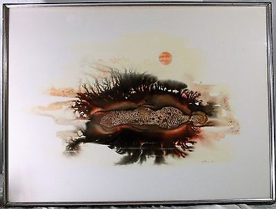 LRG RETRO MODERN ART 70s WILLIAM N. GILES PAINTING GENESIS #5 PENNEY BURCHFIELD