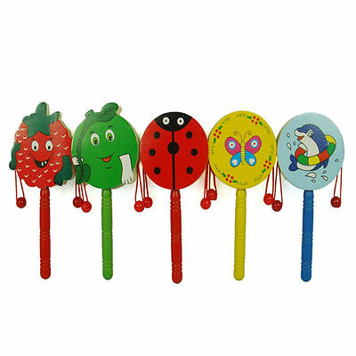 Baby Kid Cartoon Animal Hand Bell Toy Wooden Rattle Drum Musical Instrument EO