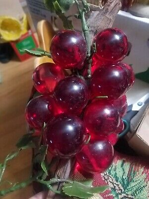 """Vintage Acrylic Glass Lucite Grape Cluster Red Large  Stem Retro 12"""""""