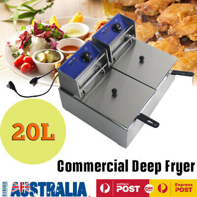 20 L Electric Deep Fryer 240 V Twin Commercial Frying Basket Chip Cooker C1