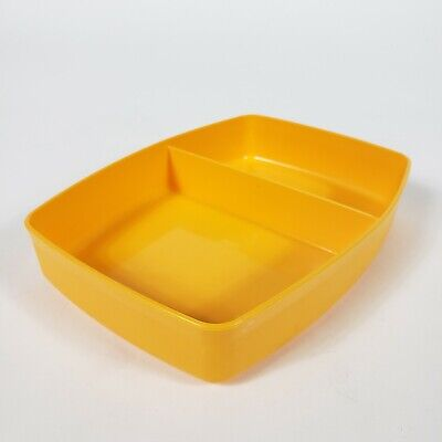 Vintage Tupperware Divided Small Container 813-8 No Lid Yellow