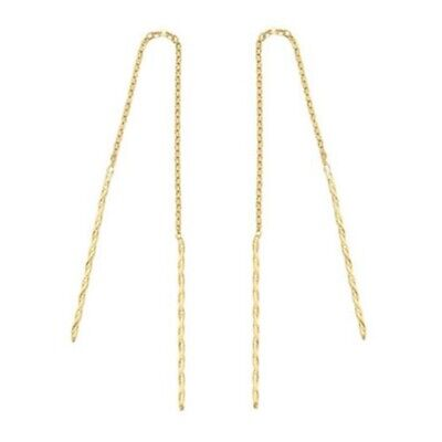 TPD Solid 14K Yellow Gold Mini Twist Long Threader Drop Dangle a Pair of Earring