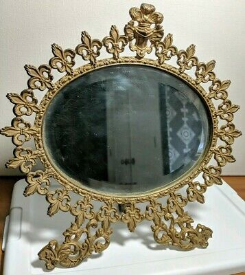 Victorian Gold Fleur De Lis Cast Iron Oval Beveled Table Mirror Easel Stand