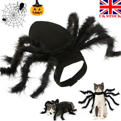 Pet Black Spider Cospaly Costume Dog Cat Clothes Halloween Party Dress Up UK
