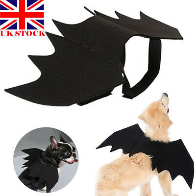 Halloween Pet Dog Cat Vampire Costume Black Bat Wings Fancy Party Dress Up UK