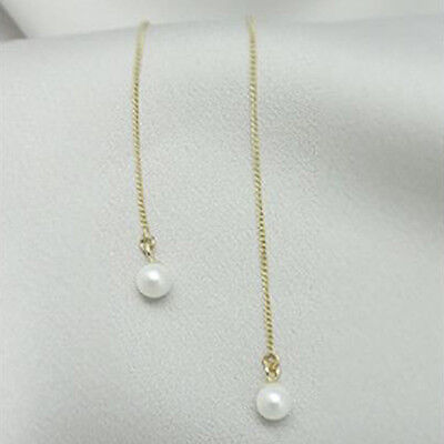 TPD Solid 14K Yellow Gold with White Pearl Threader Long Drop Dangle Earrings