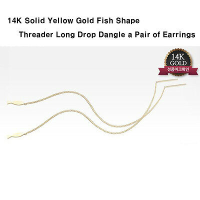 TPD Solid 14K Yellow Gold Fish Pendant Threader Long Drop Dangle a Pair Earrings