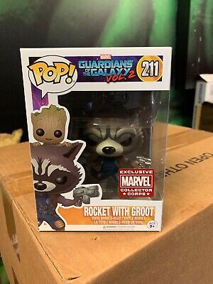 Funko Pop ROCKET with GROOT Marvel Collector Corps Exclusive W/Protector Pls Rd.