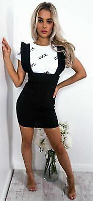Womens Designer Pinafore Strap Frill Party Bodycon Ladies Ruffle Mini Dress Uk