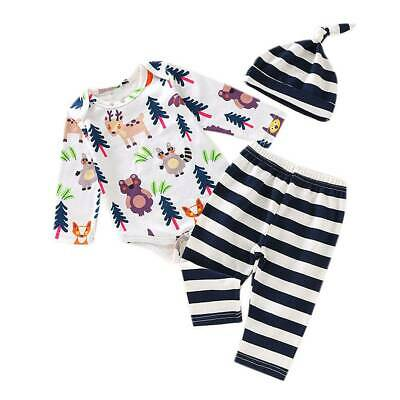 Kids Boy Girl Tops Shirts Pants Hat Bodysuit Romper Casual Outfit Jumpsuit 3PCS