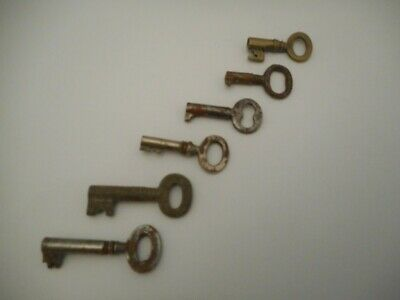 SIX Small Antique Metal Keys for Jewellery Boxes Tea Caddies Writing Slopes Box