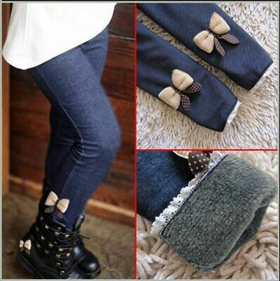 Girls Winter Jeans Fleece lined Legging Denim Leggings Age 2 3 4 5 6 7 Years