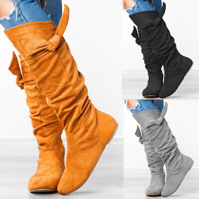 Womens Knotted Mid Calf Boots Ladies Winter Zip Up Flats Slouch Boot Shoes Size