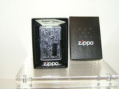Vintage  Zippo Armor Case Cigarette Lighter . Made In U.s.a. With Original Box.