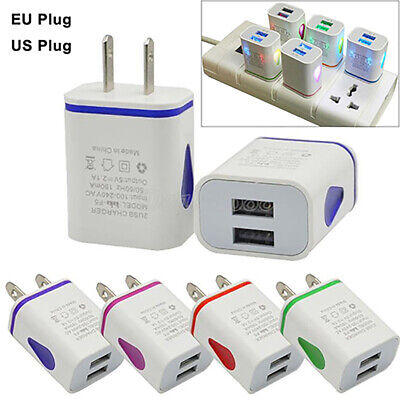 ALS_ HOT Dual USB Ports LED Light 5V 2.1A US/EU Plug Wall Home Charger Adapter L