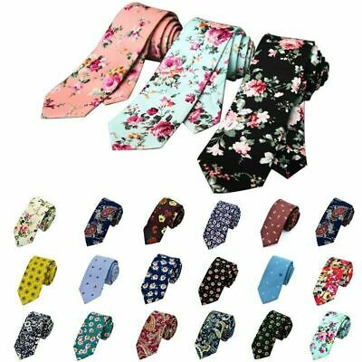 Mens Floral Fashion Plain Skinny Necktie Casual Neck Tie Party Narrow Slim Ties