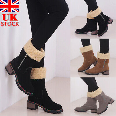 Womens Winter Fur Lined Snow Boots Block Heel Zip Up Mid Calf Boots Shoes Size