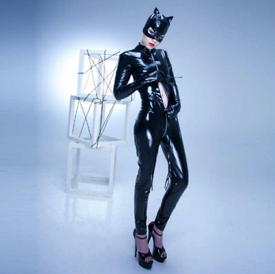 Latex Rubber Anzug Catsuit Gummi Set Sexy Schwarz Mask Bodysuit Cosplay S-XXL