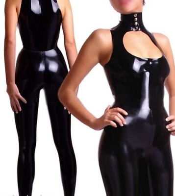 Latex Rubber Anzug Catsuit Gummi Set Sexy Slim Schwarz Sleeveless Bodysuit S-XXL