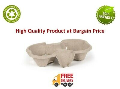 2 Cup Cardboard Holder Tray Pulp Fibre Moulded Hot/Cold Tea Coffee Drink Carrier