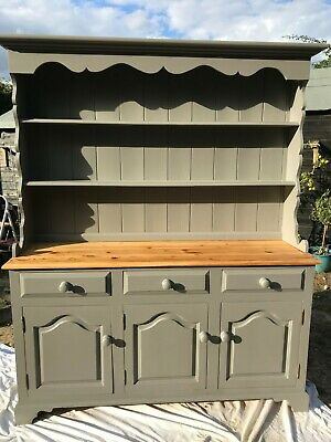 Vintage Pine Welsh Dresser Breakfront With Dog Hole Farrow Ball