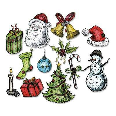 NEW Sizzix Framelits Dies By Tim Holtz 12 pack Tattered Christmas