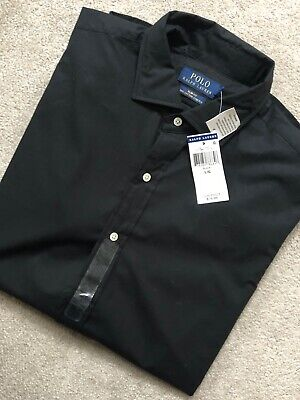 Ralph Lauren Polo Black Slim Fit Stretch L/S Shirt Top Usa Model - Large - Bnwt