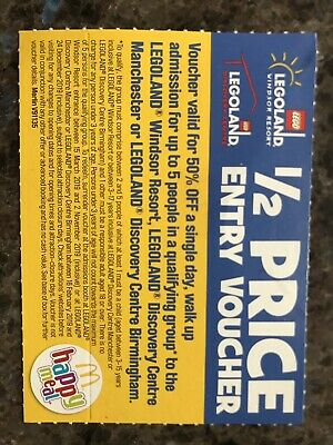 Legoland 1/2 Half Price 50% Voucher 2-5 people Windsor Birmingham/Manchester