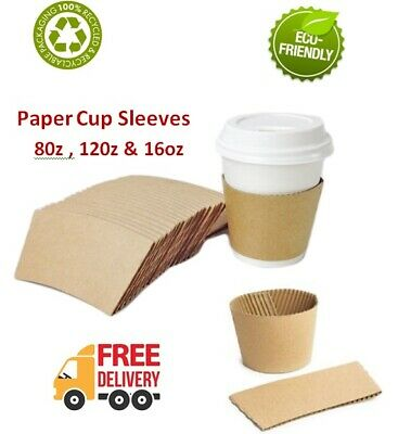 50-2000 Coffee cup Brown Sleeves Kraft Cardboard Paper cups 8,12,16oz Hot Cups